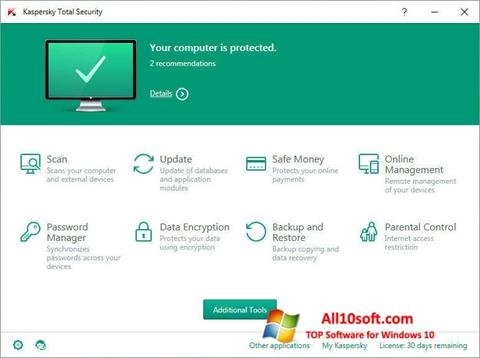 Screenshot Kaspersky Total Security untuk Windows 10