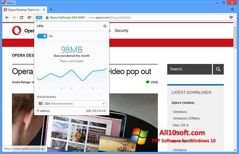 Screenshot Opera untuk Windows 10