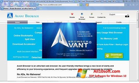 Screenshot Avant Browser untuk Windows 10