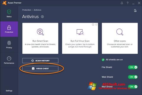 Screenshot Avast untuk Windows 10