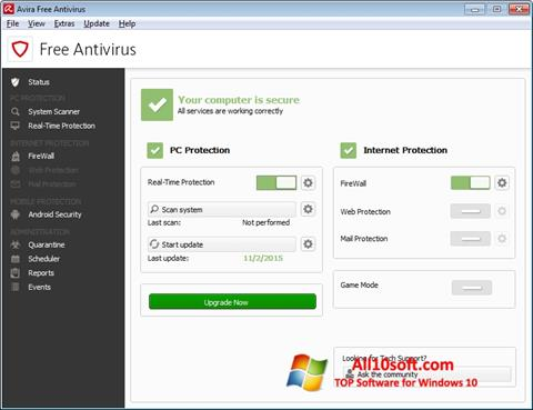 Screenshot Avira Free Antivirus untuk Windows 10