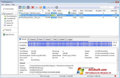 Screenshot BitTorrent untuk Windows 10